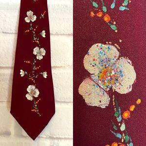 Vintage Rockabilly Hand Painted Floral Necktie